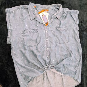 JACHS Girlfriend Chambray Palm Print Shirt - XXL